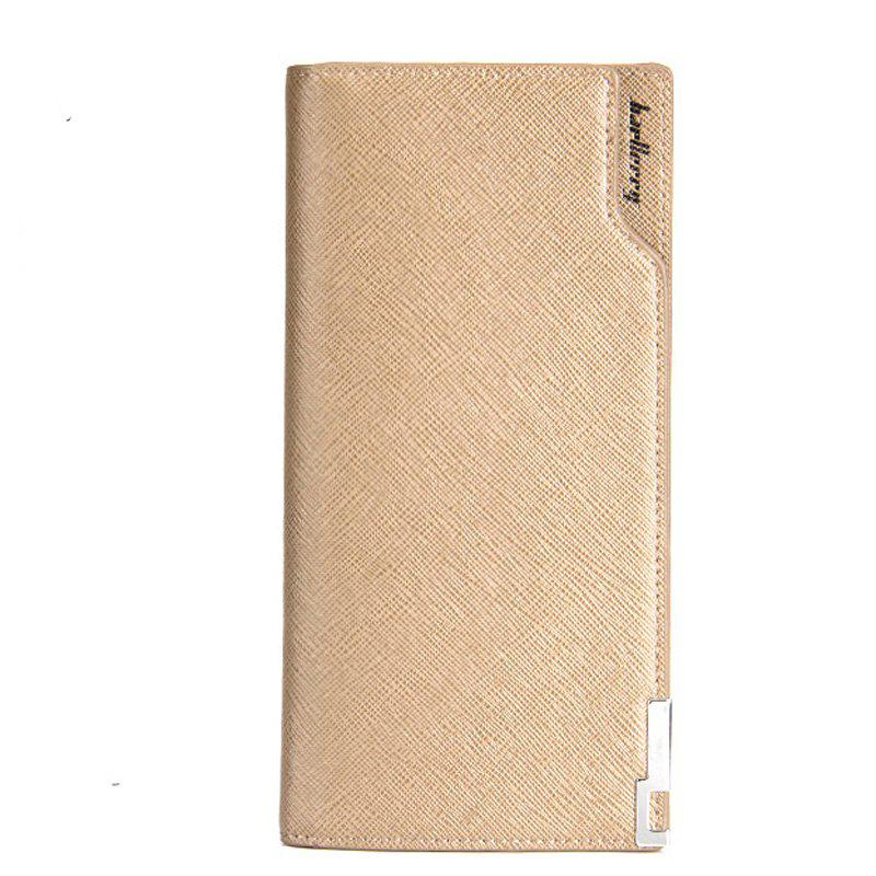 Baellerry Creative Long Casual Bussiness Trifold PU Leather Wallet Credit Card Holder - KHAKI