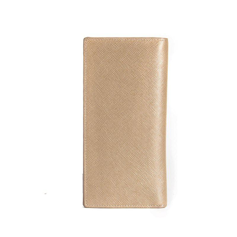 Creative Long Casual Bussiness Trifold PU Leather Wallet Credit Card Holder - KHAKI