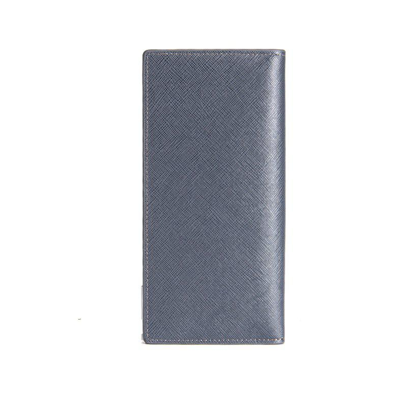 Creative Long Casual Bussiness Trifold PU Leather Wallet Credit Card Holder - BLUE