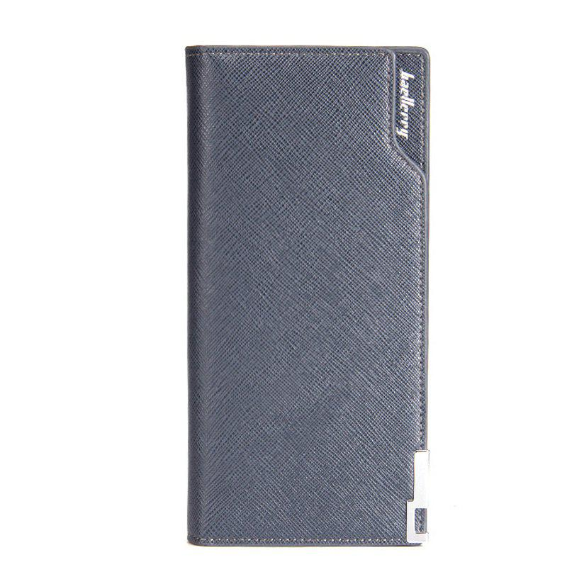 Baellerry Creative Long Casual Bussiness Trifold PU Leather Wallet Credit Card Holder - BLUE