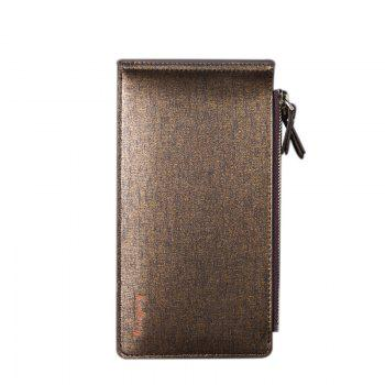 Korean Style Multi-Function Trifold PU Leather Long Wallet Double Zips Credit Card Holder - BROWN BROWN