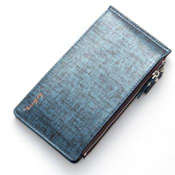 Korean Style Multi-Function Trifold PU Leather Long Wallet Double Zips Credit Card Holder -  BLUE