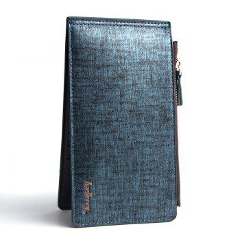 Korean Style Multi-Function Trifold PU Leather Long Wallet Double Zips Credit Card Holder - BLUE BLUE
