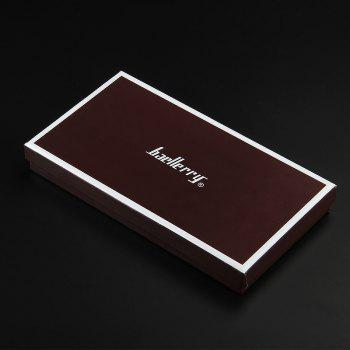 Baellerry Korean Style Multi-Function Trifold PU Leather Long Wallet Double Zips Credit Card Holder - BROWN