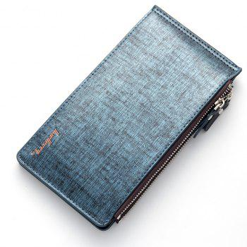 Baellerry Korean Style Multi-Function Trifold PU Leather Long Wallet Double Zips Credit Card Holder - BLUE
