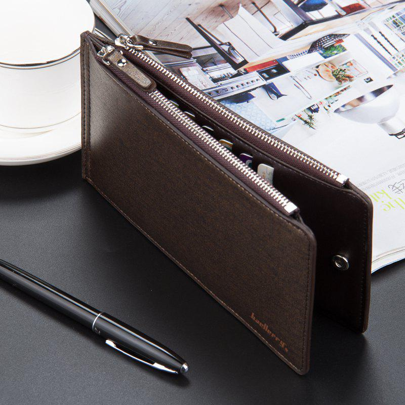 Korean Style Multi-Function Trifold PU Leather Long Wallet Double Zips Credit Card Holder - BROWN