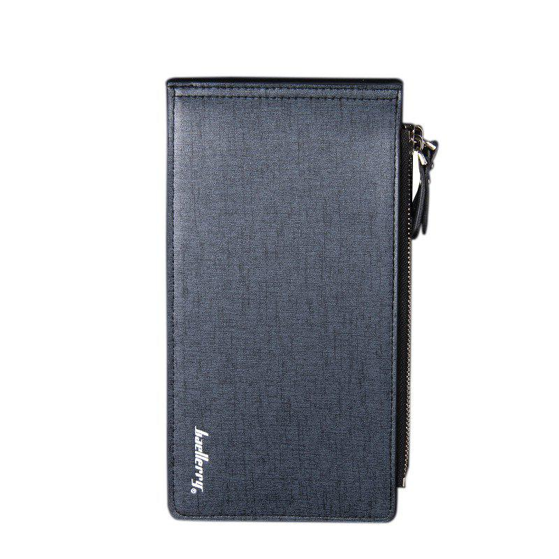 Baellerry Korean Style Multi-Function Trifold PU Leather Long Wallet Double Zips Credit Card Holder - DARK BLUE