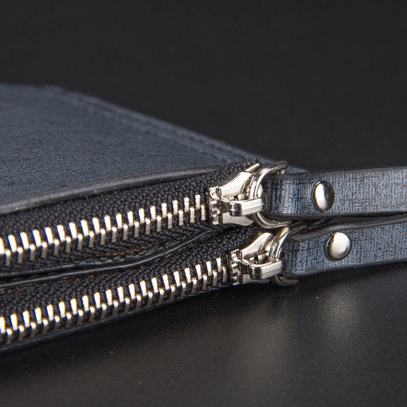 Korean Style Multi-Function Trifold PU Leather Long Wallet Double Zips Credit Card Holder - DARK BLUE