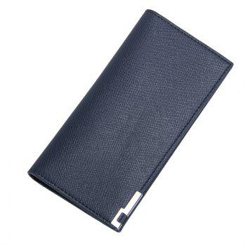 Long Ultra Thin Soft Leather Bifold Wallet Durable Credit Card Holder for Men - BLUE BLUE