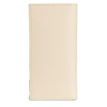 Long Ultra Thin Soft Leather Bifold Wallet Durable Credit Card Holder for Men - WHITE