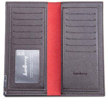 Baellerry Long Ultra Thin Soft Leather Bifold Wallet Durable Credit Card Holder for Men - COFFEE