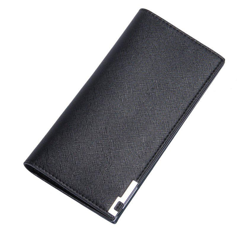 Baellerry Long Ultra Thin Soft Leather Bifold Wallet Durable Credit Card Holder for Men - BLACK