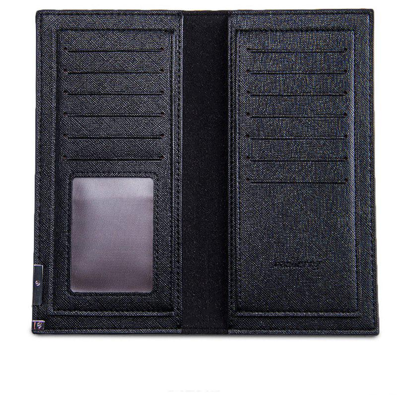 Long Ultra Thin Soft Leather Bifold Wallet Durable Credit Card Holder for Men - BLACK