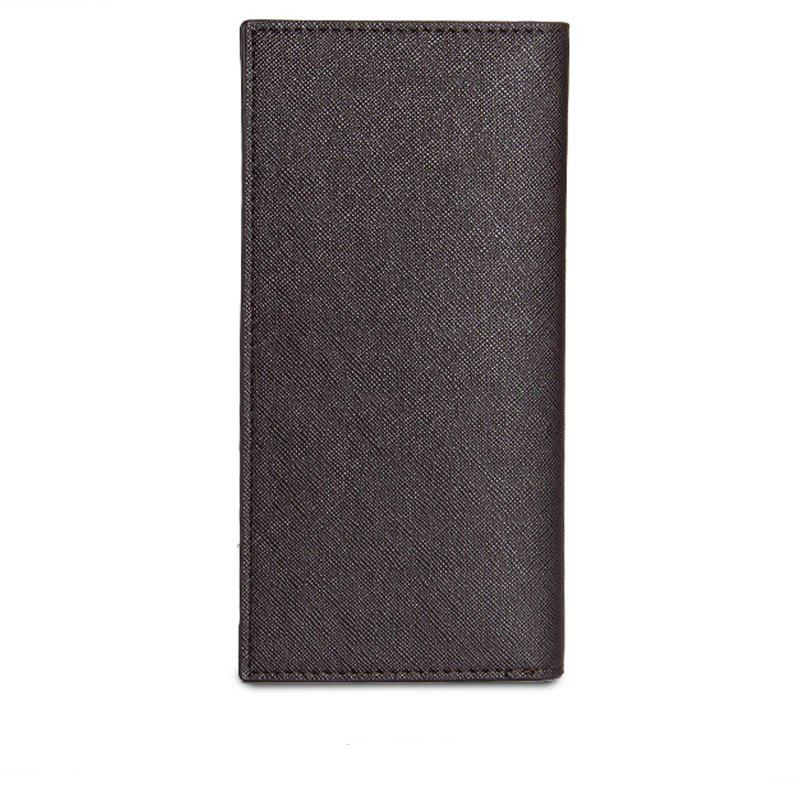 Long Ultra Thin Soft Leather Bifold Wallet Durable Credit Card Holder for Men - COFFEE