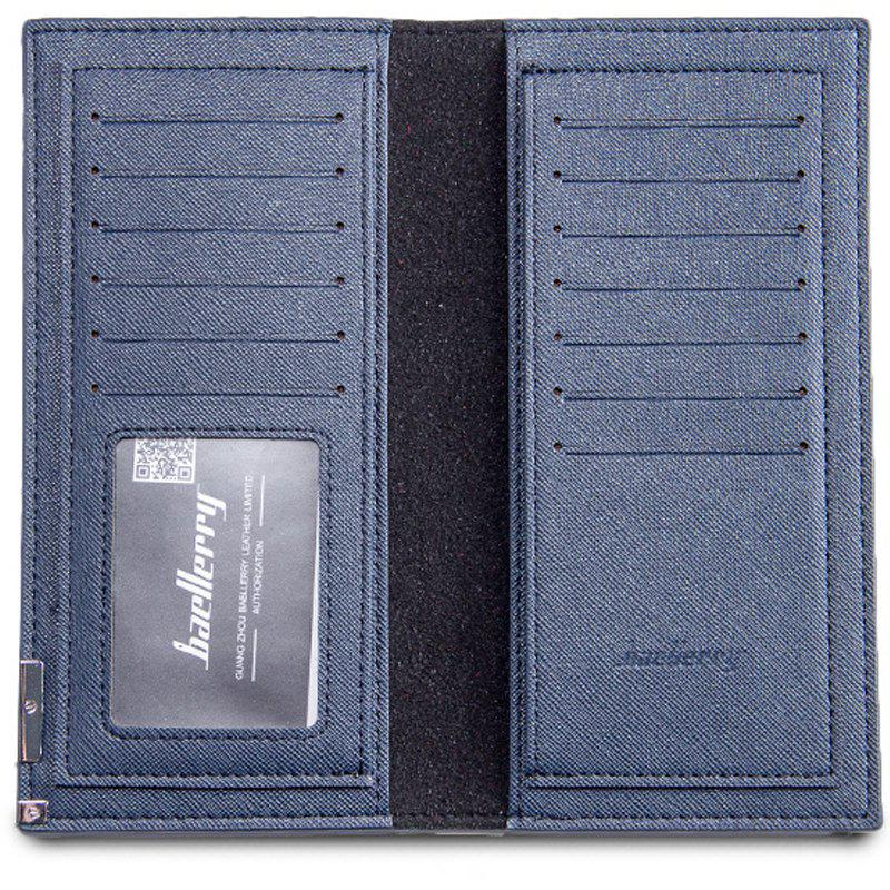 Long Ultra Thin Soft Leather Bifold Wallet Durable Credit Card Holder for Men - BLUE