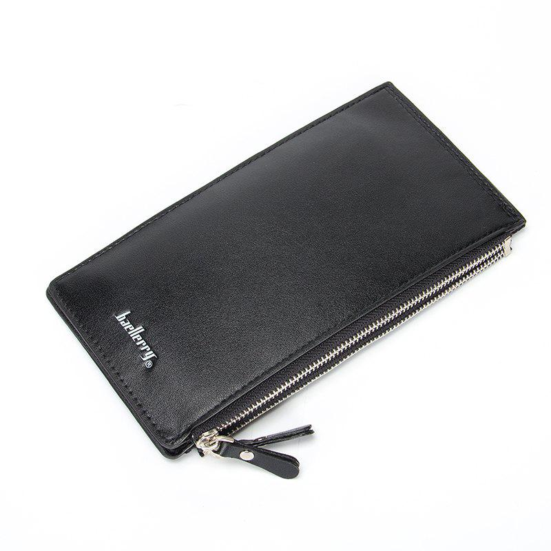 Multi-Function Bifold Long Wallet Zip Fastener Multi Credit Card Holder - BLACK