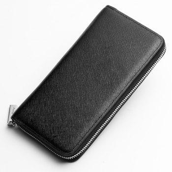 Korean Style long Zip PU Leather Bussiness Wallet Credit Card Holder - BLACK