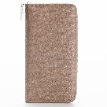 Korean Style long Zip PU Leather Bussiness Wallet Credit Card Holder - KHAKI KHAKI