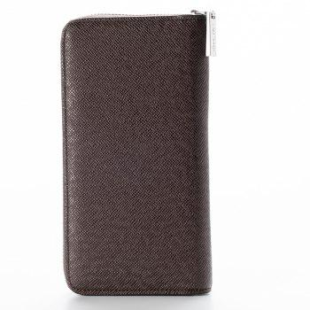 Korean Style long Zip PU Leather Bussiness Wallet Credit Card Holder -  BROWN