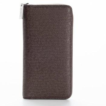 Korean Style long Zip PU Leather Bussiness Wallet Credit Card Holder - BROWN BROWN