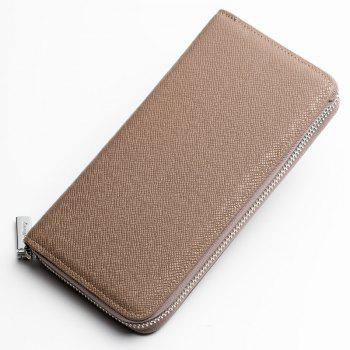 Baellerry Korean Style long Zip PU Leather Bussiness Wallet Credit Card Holder - KHAKI