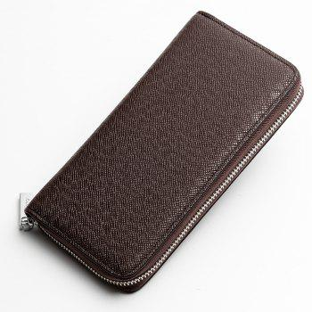 Baellerry Korean Style long Zip PU Leather Bussiness Wallet Credit Card Holder - BROWN