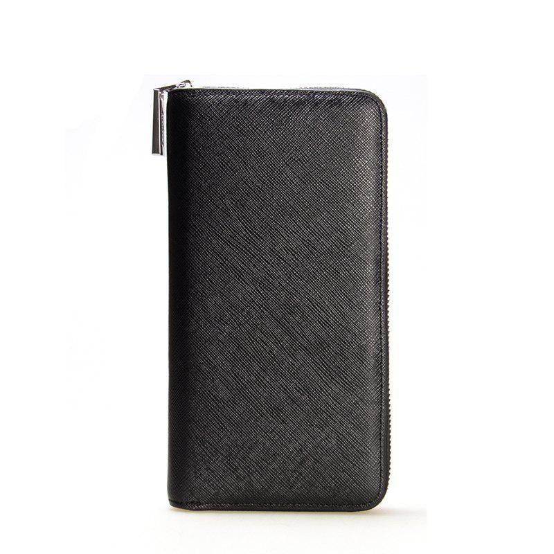 Baellerry Korean Style long Zip PU Leather Bussiness Wallet Credit Card Holder - BLACK