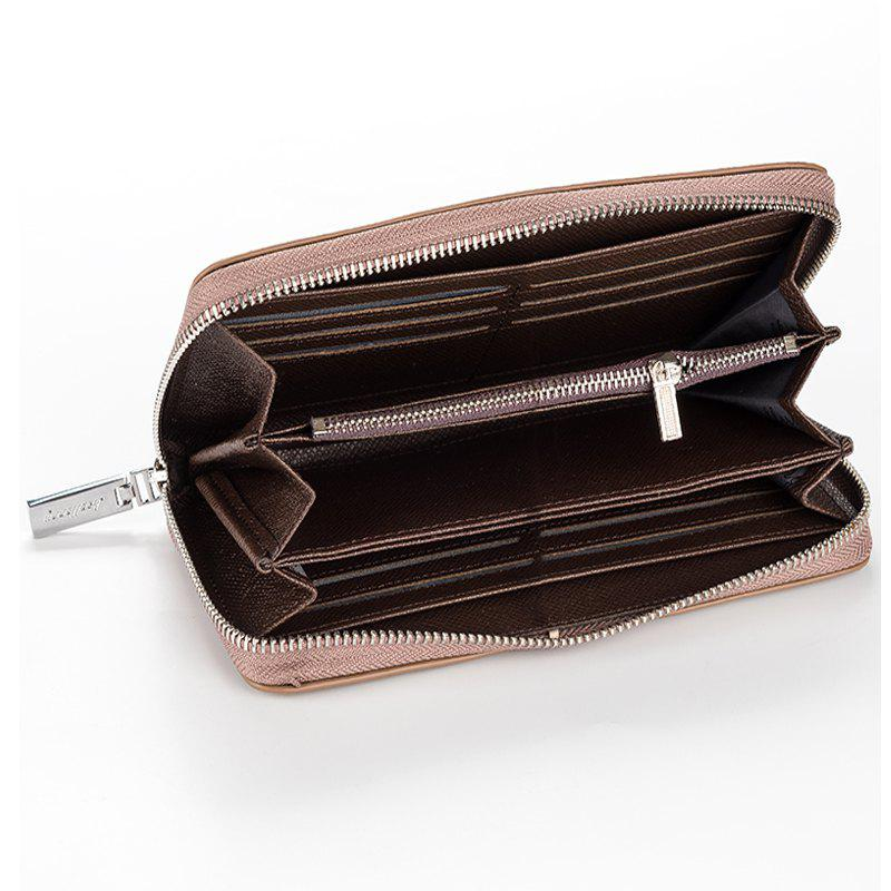 Korean Style long Zip PU Leather Bussiness Wallet Credit Card Holder - KHAKI