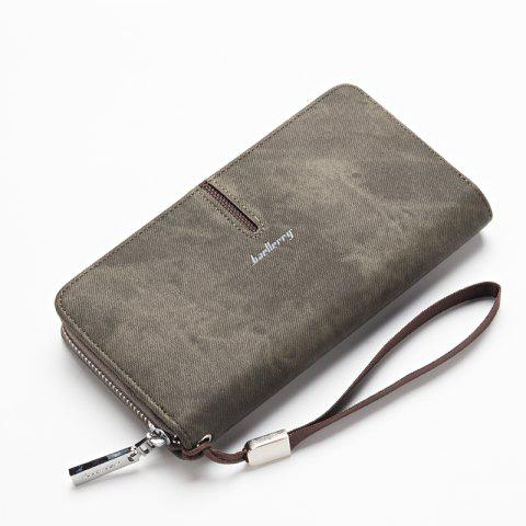 Baellerry Multi-Function Men's Hand Bag PU Leather Long Zipper Wallet Credit Card Holder - GRAY