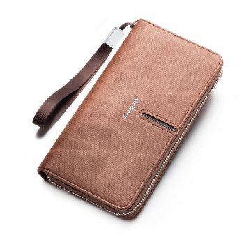 Multi-Function Men's Hand Bag PU Leather Long Zipper Wallet Credit Card Holder - COFFEE COFFEE