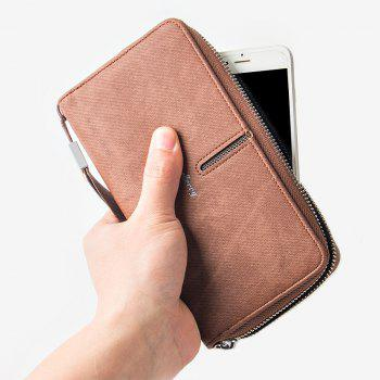 Multi-Function Men's Hand Bag PU Leather Long Zipper Wallet Credit Card Holder -  COFFEE
