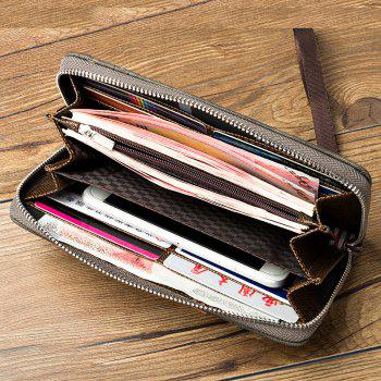 Multi-Function Men's Hand Bag PU Leather Long Zipper Wallet Credit Card Holder -  GRAY
