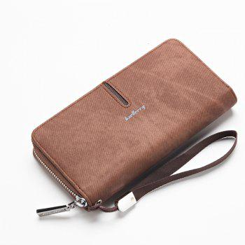 Baellerry Multi-Function Men's Hand Bag PU Leather Long Zipper Wallet Credit Card Holder - COFFEE