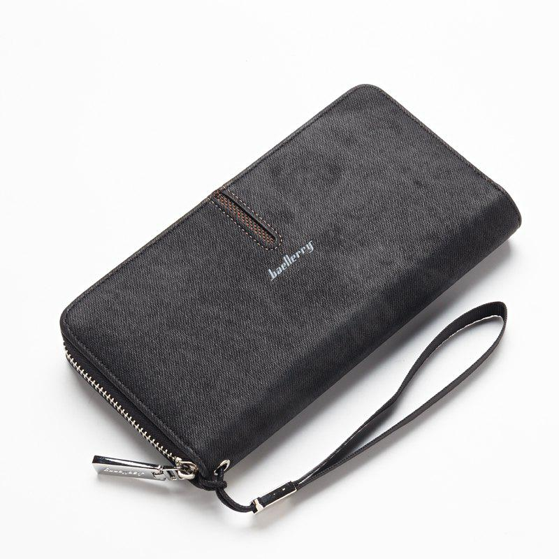 Baellerry Multi-Function Men's Hand Bag PU Leather Long Zipper Wallet Credit Card Holder - BLACK