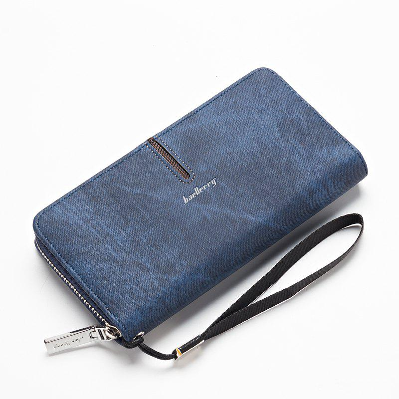 Baellerry Multi-Function Men's Hand Bag PU Leather Long Zipper Wallet Credit Card Holder - BLUE