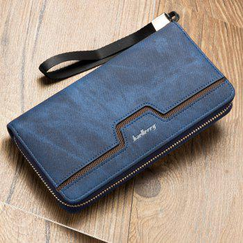 Fashion Men's Long Zipper Large Capacity Wallet Pu Leather Hand Bag -  BLUE