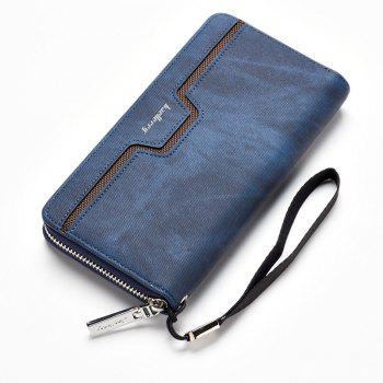 Fashion Men's Long Zipper Large Capacity Wallet Pu Leather Hand Bag - BLUE BLUE