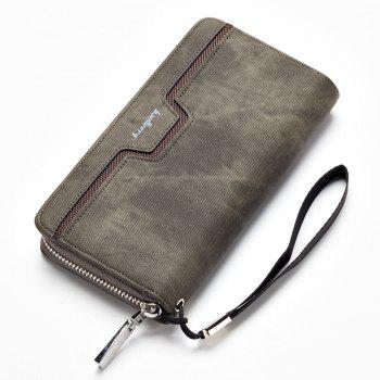 Fashion Men's Long Zipper Large Capacity Wallet Pu Leather Hand Bag - GRAY GRAY