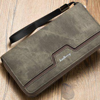 Fashion Men's Long Zipper Large Capacity Wallet Pu Leather Hand Bag -  GRAY