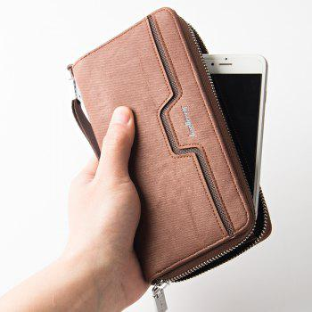 Baellerry Fashion Men's Long Zipper Large Capacity Wallet Pu Leather Hand Bag - COFFEE