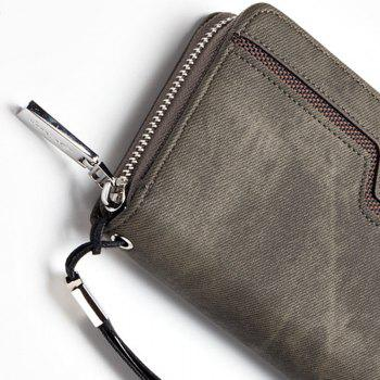 Baellerry Fashion Men's Long Zipper Large Capacity Wallet Pu Leather Hand Bag - GRAY
