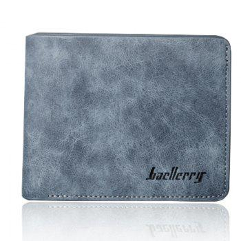 Baellerry Vintage Short PU Leather Bifold Wallet Credit Card Holder - BLUE