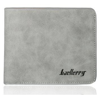 Baellerry Vintage Short PU Leather Bifold Wallet Credit Card Holder - GRAY