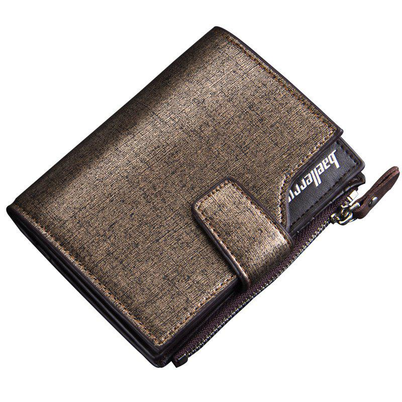 Baellerry Multi-function Men's PU Leather Bussiness Short Wallet Credit Card Holder - GOLDEN