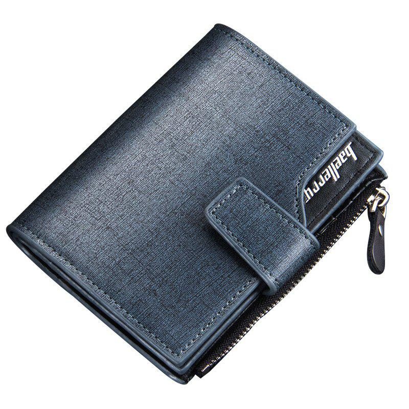 Baellerry Multi-function Men's PU Leather Bussiness Short Wallet Credit Card Holder - BLUE