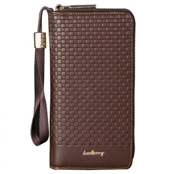 Multi-function Men's Large Capacity Hand Bag Long Casual Wallet Credit Card Holder - BROWN BROWN