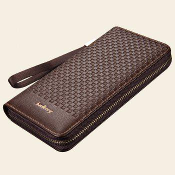 Multi-function Men's Large Capacity Hand Bag Long Casual Wallet Credit Card Holder -  BROWN