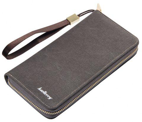 Baellerry Vintage Long Canvas Zipper Wallet Creative Credit Card Holder - LIGHT GRAY