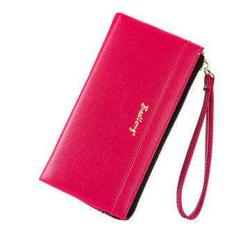 Multi-Function Long Wallet Zipper Embossed Purse Hand Bag for Women - ROSE RED ROSE RED