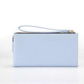 Multi-Function Long Wallet Zipper Embossed Purse Hand Bag for Women -  BLUE